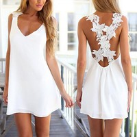 V Neck Crochet Flower Lace Summer Dress