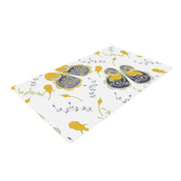 "Anneline Sophia ""Leafy Butterflies Yellow"" Purple Butterfly Woven Area Rug"