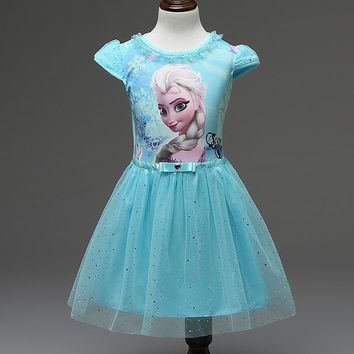 Cool Hot Girl Dress Summer Brand Toddler Girls Clothes Lace Sequins Princess Anna Elsa Dress Snow Queen Halloween Party Costume 3-7YAT_93_12