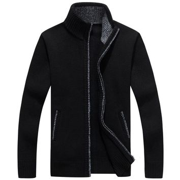 New Autumn Winter Men's Cardigans Sweaters Mandarin Collar Casual Clothes For Men Zipper Sweater Warm Knitwear Sweater