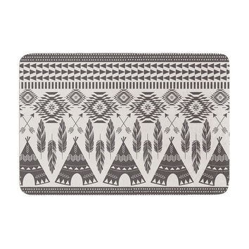"Amanda Lane ""Native Roots"" Brown Gray Memory Foam Bath Mat"