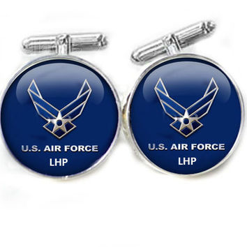 Military Air Force Cufflinks, personalized Initial Cufflinks