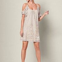 Ivory Multi Cold Shoulder Lace Dress from VENUS