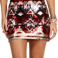 BurgundyBlack Tribal Sequin Mini Skirt