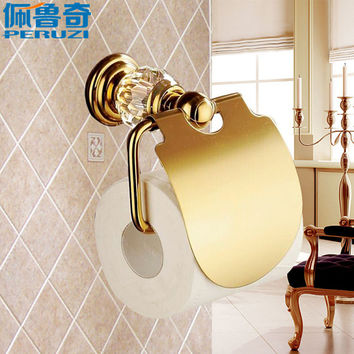 Peruzi Bathroom Luxury Crystal Gold Plated Paper Towel Rack Hardware Accessories European Toilet Rack Tissue Box shipping