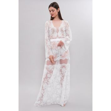 Apilat Long Lace Bridal Nightgown F