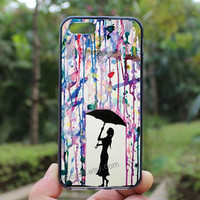 Watercolor,Under the umbrella of the girl,iphone 4 case,iPhone4s case, iphone 5 case,iphone 5c case,Gift,Personalized,water proof