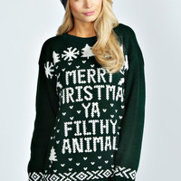 Hiba Merry Christmas Ya Filthy Animal Jumper