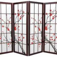 Oriental Furniture 4 ft. Tall Cherry Blossom Shoji Screen - Rosewood - 4 Panels
