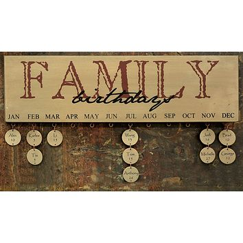 Burgundy Family Birthday Calendar