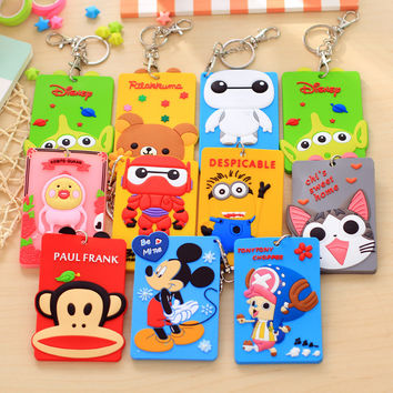 Silicone card case holder portable cute cartoon Metro ID bus Identity badge with lanyard porte carte credit
