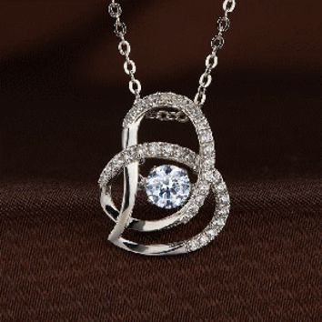 Double Half Heart Swarovski Crystal Necklace