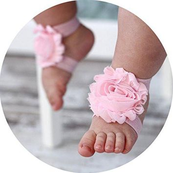 Miugle Baby Cute Pink Shabby Chic Flower Barefoot Sandals Baby Shoes Kids Anklets Foot Jewelry