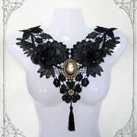 "Gothic Necklace ""Golden Age"" (Collier, Lace, Goth, Black, Roses, Steampunk)"