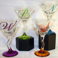 Personalized Initial ZigZag Stem Colored Martini Glass
