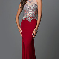 Long Open Back Sleeveless Prom Dress with Jewel Detailed Sheer Bodice by Elizabeth K