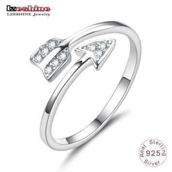 LZESHINE New Arrival 925 Sterling Silver Arrow Crystal Finger Ring for Women Adjustable Cubic Zirconia Engagement Ring T010071-B