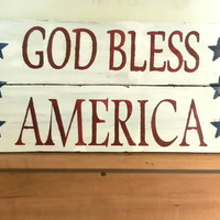 Rustic Barn Wood Sign, Upcycled Reclaimed, Patriotic Red White & Blue Americana White Wash USA Land of the Free 4th of July pallet wood