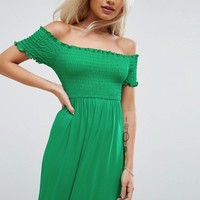 ASOS PETITE Off Shoulder Maxi Sundress with Shirring at asos.com
