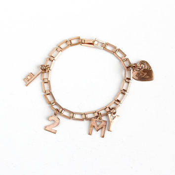 Vintage Gold Tone Key to My Heart Charm Bracelet - Mid Century 1940s WWII Dated 1946 Love Romantic Linked Skeleton Key Jewelry