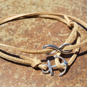 Brown Leather Silver Anchor Infinity Bracelet Anklet Charm Men Women Unisex Fashion New Love Cute Diy Friendship