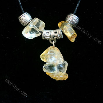 Citrine Necklace  Genuine Raw Citrin Nugget Necklace November Birthstone Crystal Healing Citrine Jewelry