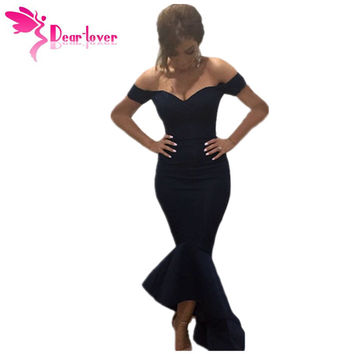 Dear-Lover Vestidos Party Night Club Dresses Navy Off-shoulder Mermaid Jersey Dress Formal Gowns