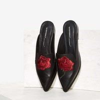 Intentionally Blank Fanning Embroidered Leather Mule