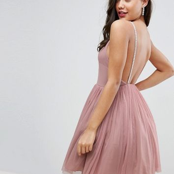 ASOS Embellished Strap Mini Tulle Dress at asos.com