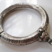 Unique Vintage Silver Indian Lotus Flower Bracelet or Bangle