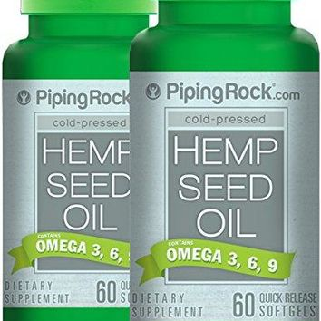 Piping Rock Cold-Pressed Hemp Seed Oil 700 mg 2 Bottles x 60 Quick Release Softgels Omega 3, 6, 9 Dietary Supplement