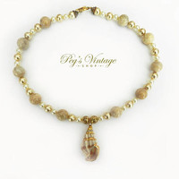 Vintage Pearl & Agate Shell Necklace, Gold And Ivory Pearl Shell Necklace