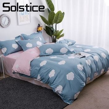 Solstice Home Textile Leisurely White Cloud Bedding Sets Girls Pink Bed Sheet Duvet Cover Pillowcase Child Teen Bed Linen 3/4Pcs