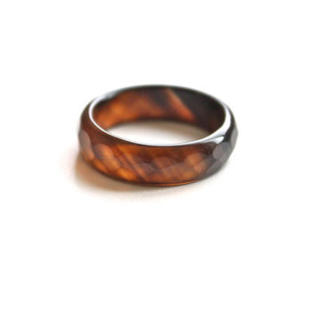 Natural Dark Brwon Agate Band Ring 5mm. Stackable Gemstone Ring. Faceted Agate Ring. Natural Healing Agate Ring.