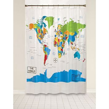 World Map Atlas Countries Oceans Map Shower Curtain