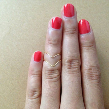 TWO chevron ring: Gold Knuckle Ring, stacking rings, dainty ring, mid ring, chevron knuckle ring