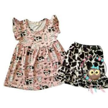 RTS Girls Super Cute Got Milk 2 pc Outfit with Cow Print Ruffled Shorts!  D14
