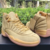Air Jordan Retro 12 PSNY Wheat Basketball Shoes For Men High Quality 12S XII Cheap Sneakers Athletic Boots For Sale Size8-13