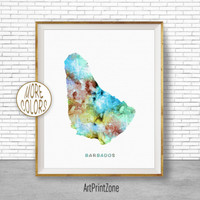 Barbados Map Print, Barbados Print, Office Art Print, Watercolor Map Art, Map Artwork, Office Decorations, Country Map, Art Print Zone