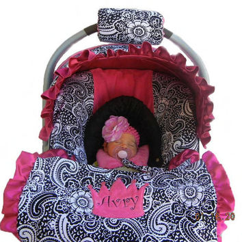 Baby car seat cover, girl car seat cover, Infant carseat cover, Paisley with Hot Pink Minky Dot, Ships Today