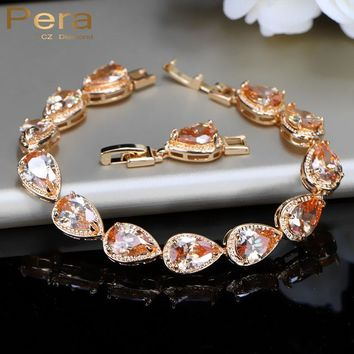 Pera Classic Gold Color Connected Champagne Cubic Zircon Bridal Wedding Charm Bracelet Jewelry Accessories For Bridesmaid B038