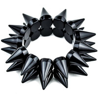 2-row Black Cone Spike Bracelet Stretch Wristband