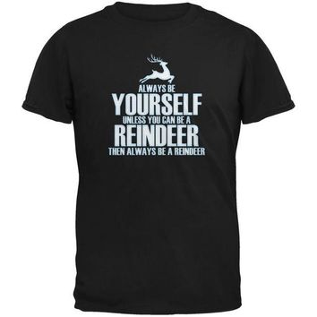 DCCKJY1 Christmas Always Be Yourself Reindeer Black Youth T-Shirt