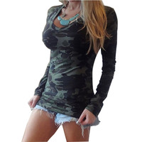 2016 Spring Autumn Fashion Sexy Slim Casual Long Sleeve Women T-shirt Camouflage Ladies Shirts Female Women Tops Shirt Blusas
