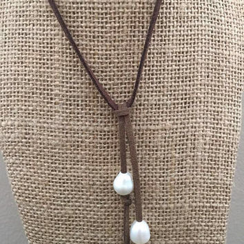 Pearl Suede Necklace Three Genuine Freshwater Pearl Rice Shape Suede Faux Leather Brown Black Light Brown