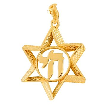 Unique Star Of David With A Chai In Center Of A Wedding Ring