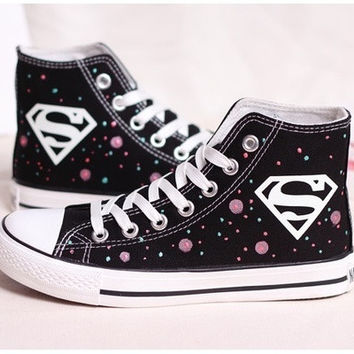 Lady's Galaxy printed Canvas sneakers with Noctilucent Lace and Superman = 1946083460