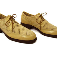Vintage NEW Tan Suede Hush Puppies Oxfords - Preppy Dress Shoes Brown Khaki Neutral Ivy League Menswear - Men's Size 8