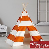 The Land of Nod: Kids Imaginary: Orange Stripe Play Teepee in Playhomes and Tents