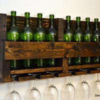 Rustic Wine Rack 8 Bottle 6 Glass Holder Wall Bar Liquor Cabinet Dark Brown Walnut Finished Wood